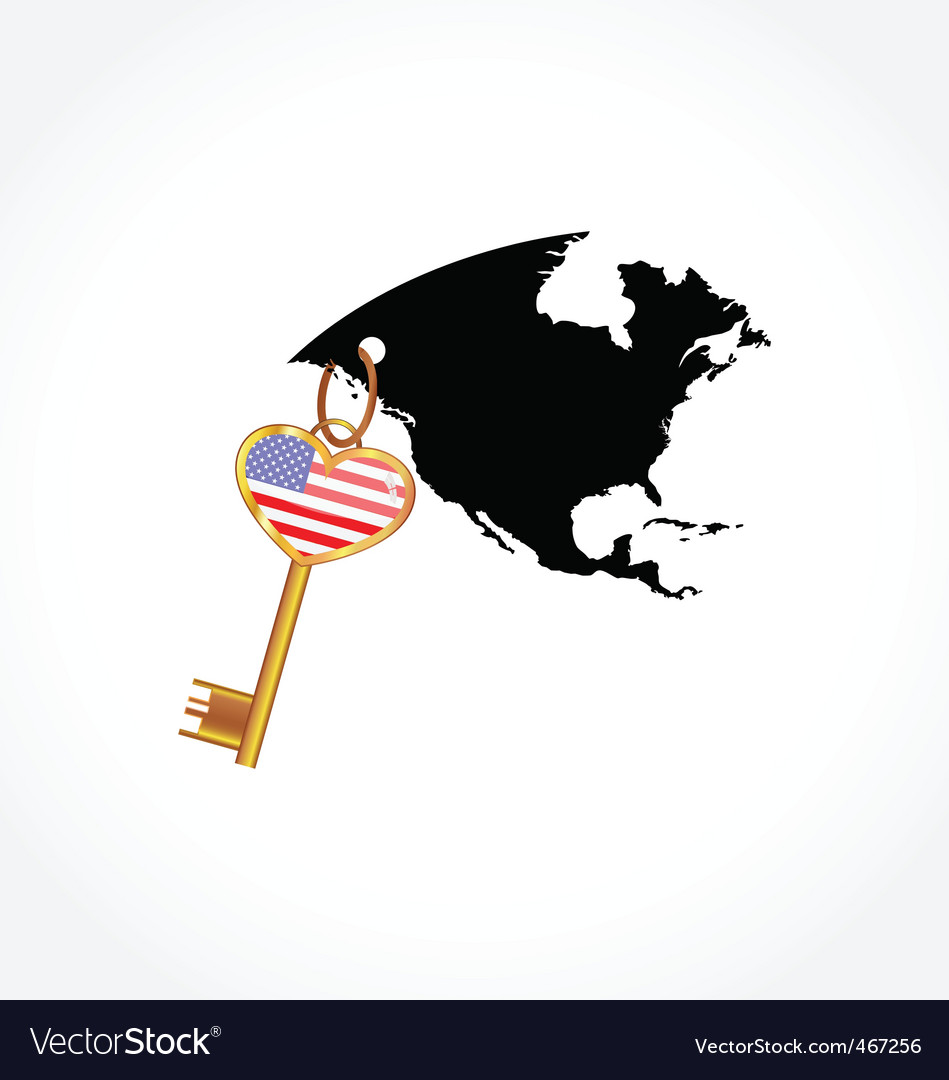 Key with american flag vector | Price: 1 Credit (USD $1)