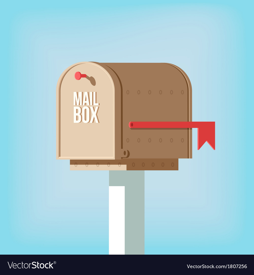 Mail postbox on pole with red flag vector | Price: 1 Credit (USD $1)