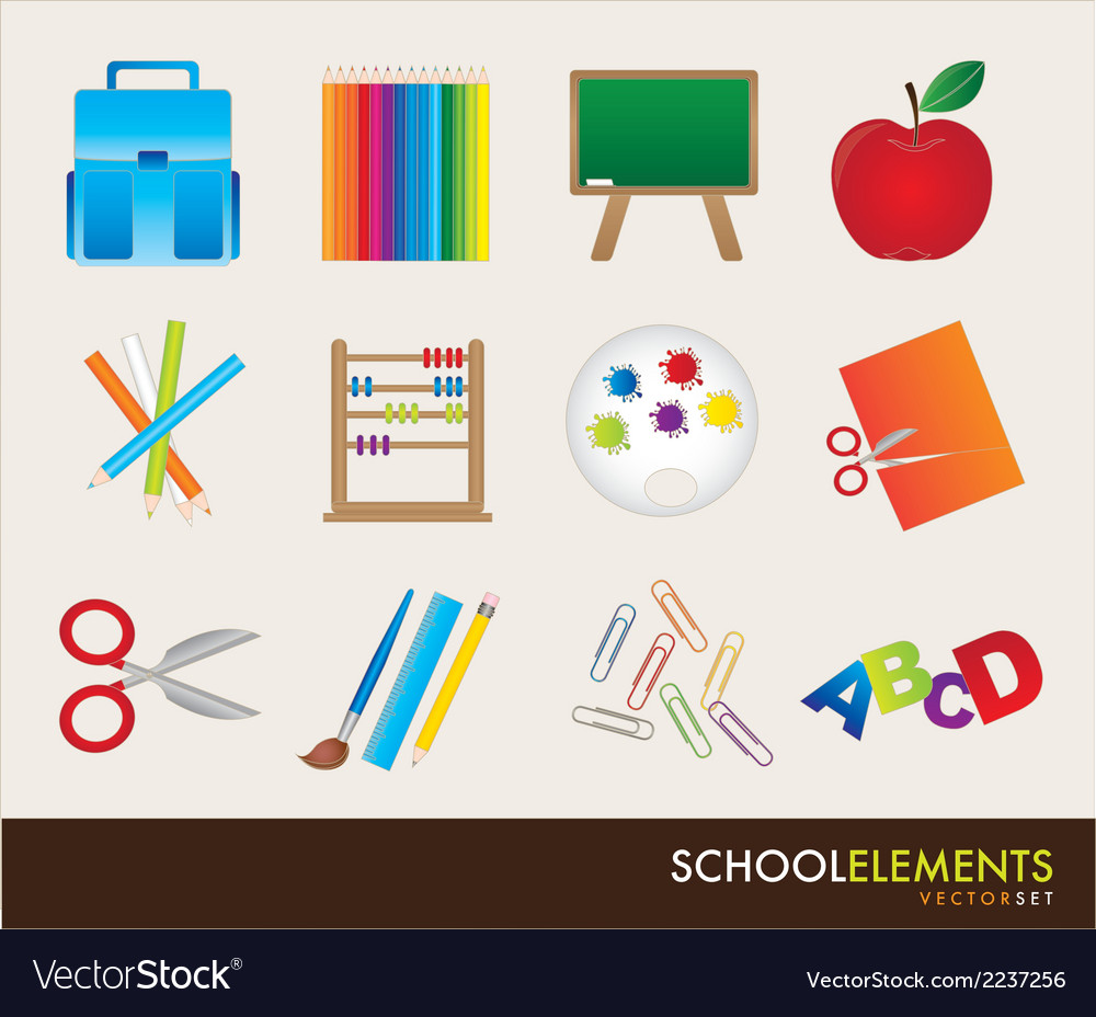 School elements vector | Price: 1 Credit (USD $1)