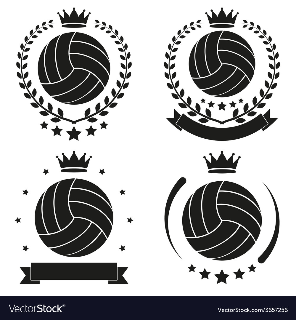 Set of vintage volleyball club badge and label vector | Price: 1 Credit (USD $1)
