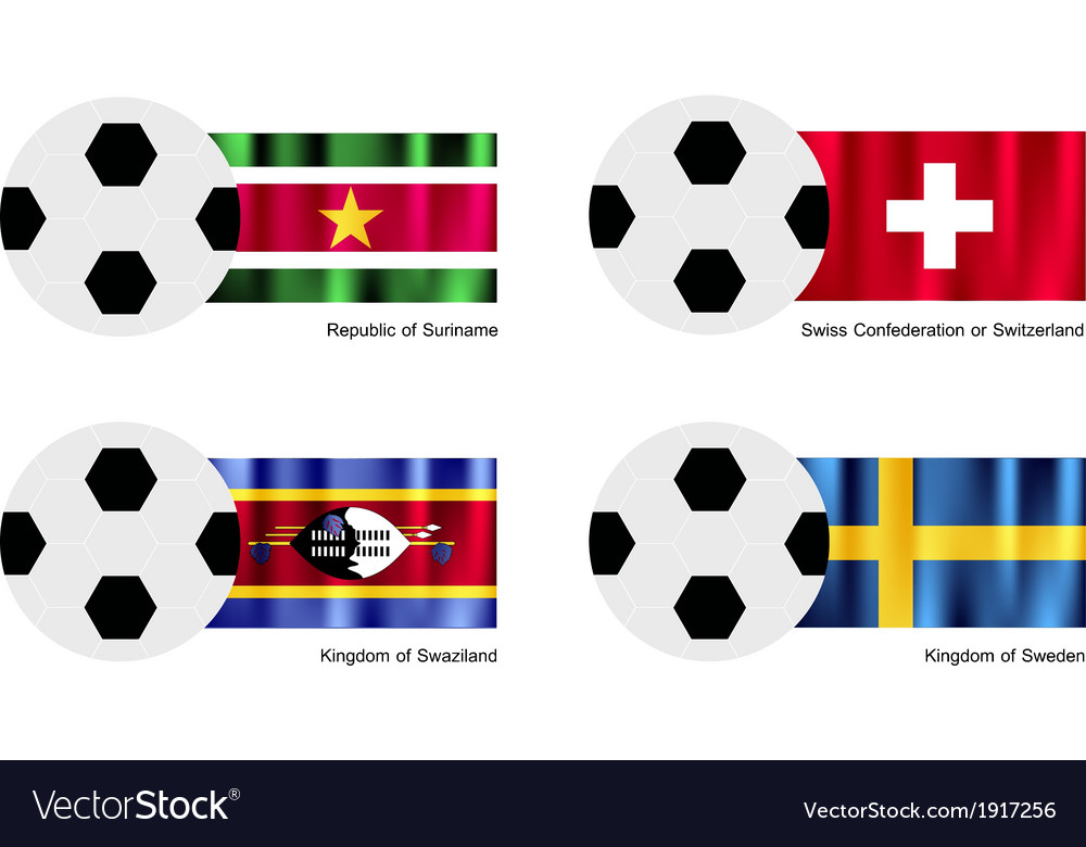 Soccer ball of suriname switzerland swaziland vector | Price: 1 Credit (USD $1)