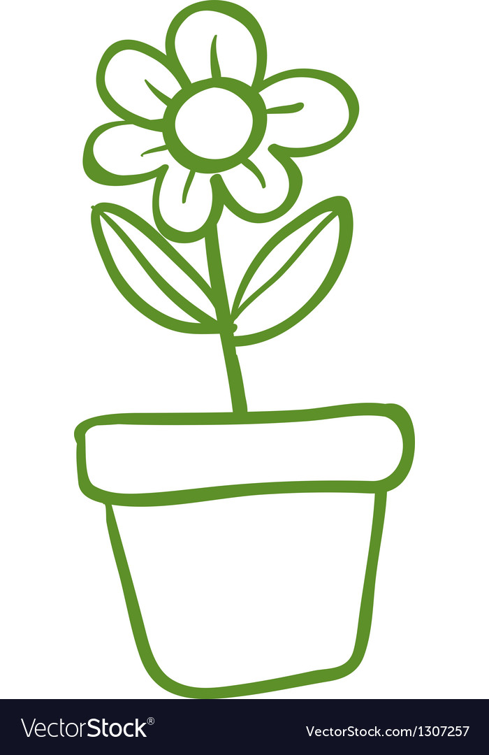 A green pot with a green flower vector | Price: 1 Credit (USD $1)