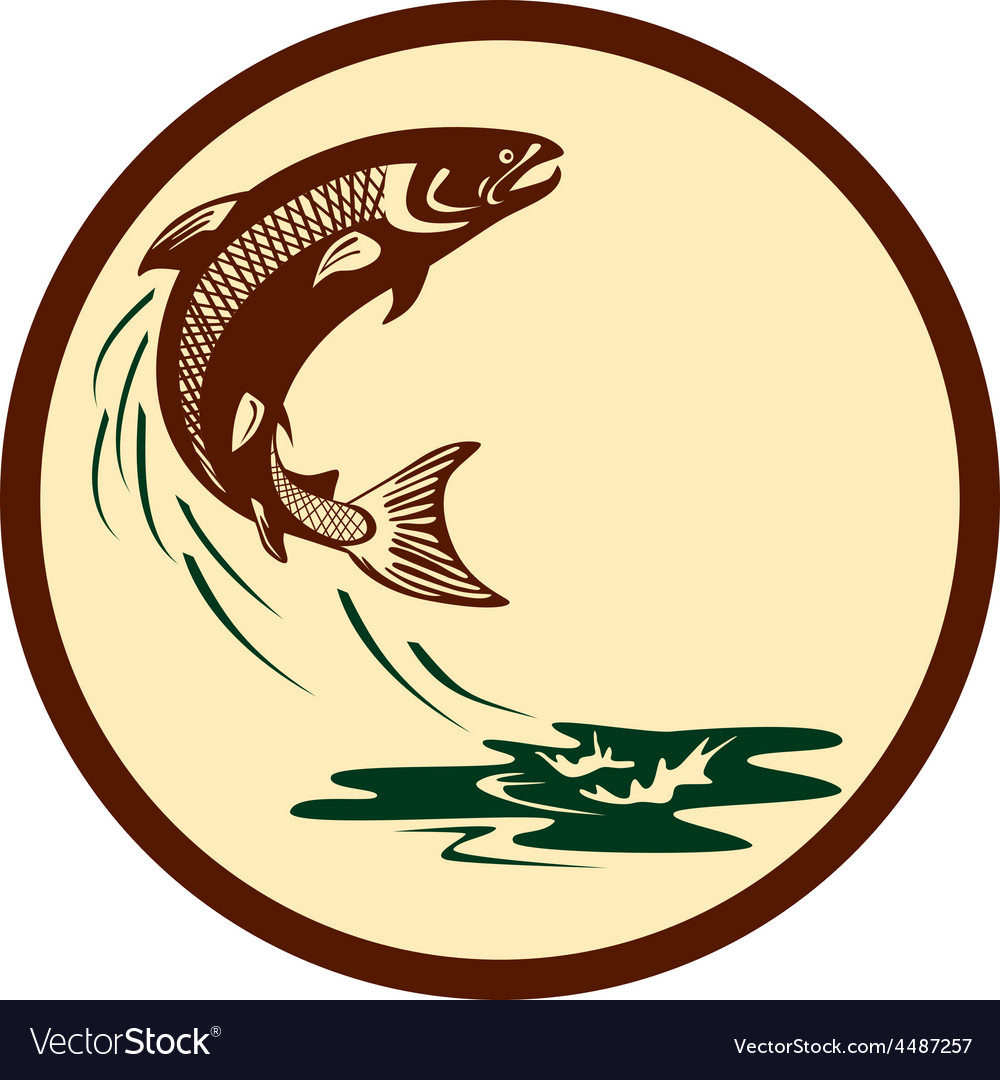 Atlantic salmon fish jumping water retro vector | Price: 1 Credit (USD $1)