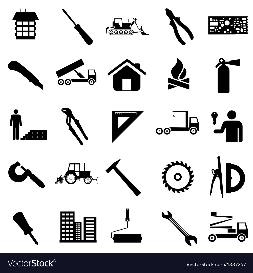 Collection flat icons construction symbols vector | Price: 1 Credit (USD $1)