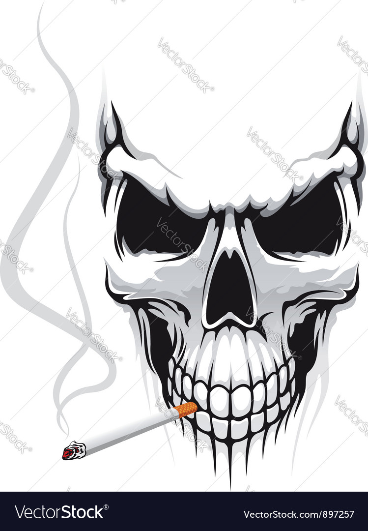 Danger skull smoke a cigarette vector | Price: 3 Credit (USD $3)