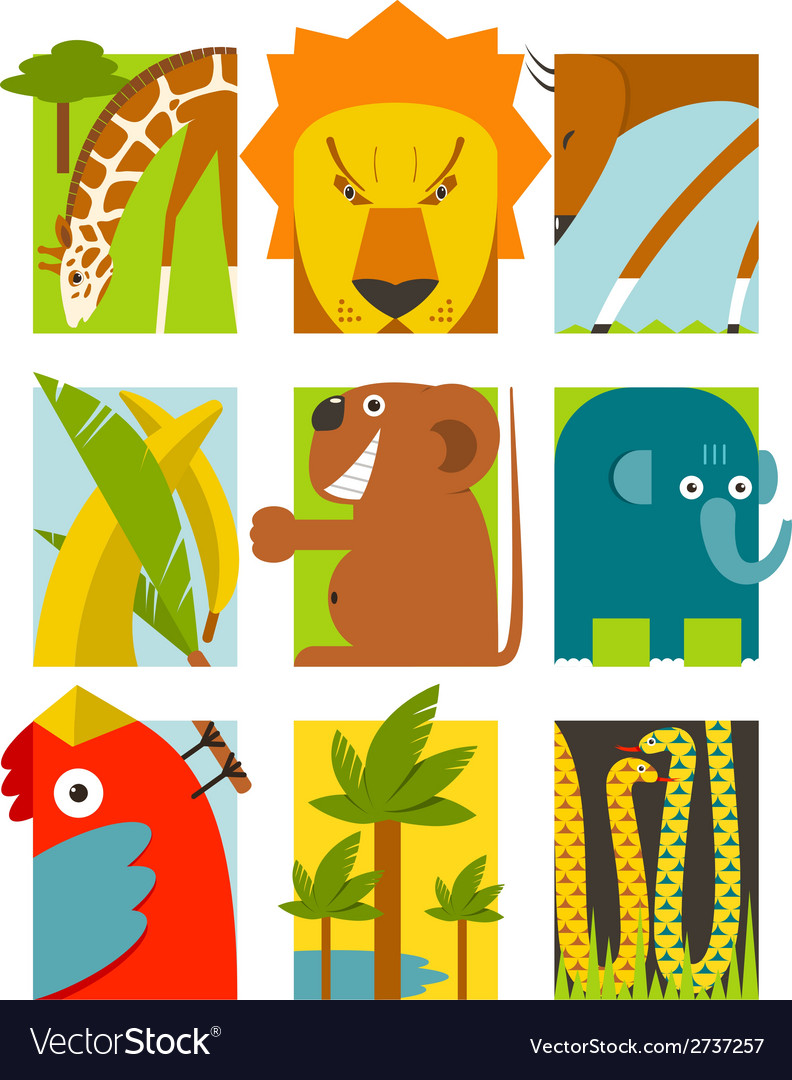 Flat african animals symbols set vector | Price: 1 Credit (USD $1)