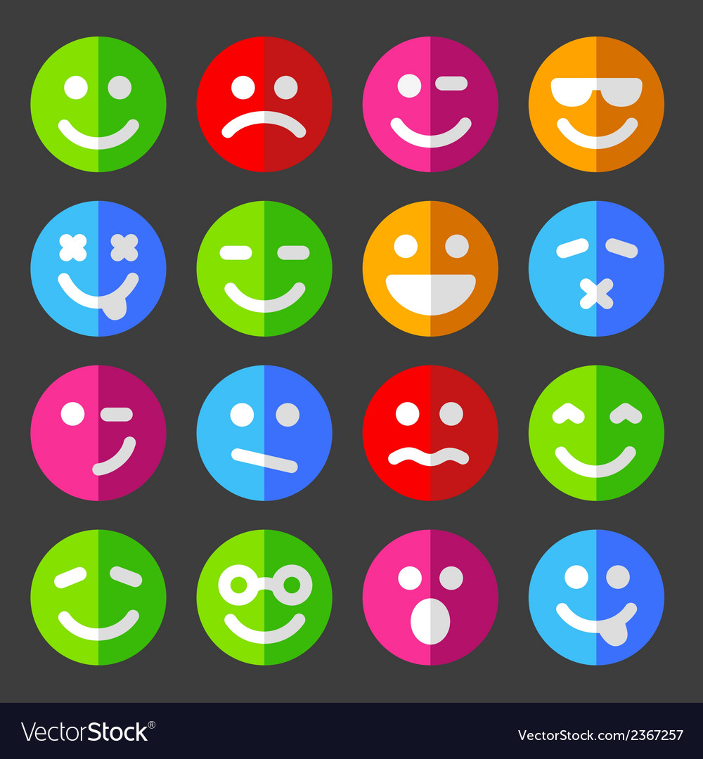 Flat and round emotion icons with smiley faces vector | Price: 1 Credit (USD $1)