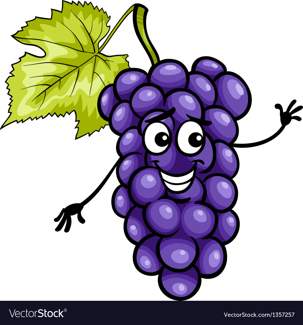Funny blue grapes fruit cartoon vector | Price: 1 Credit (USD $1)