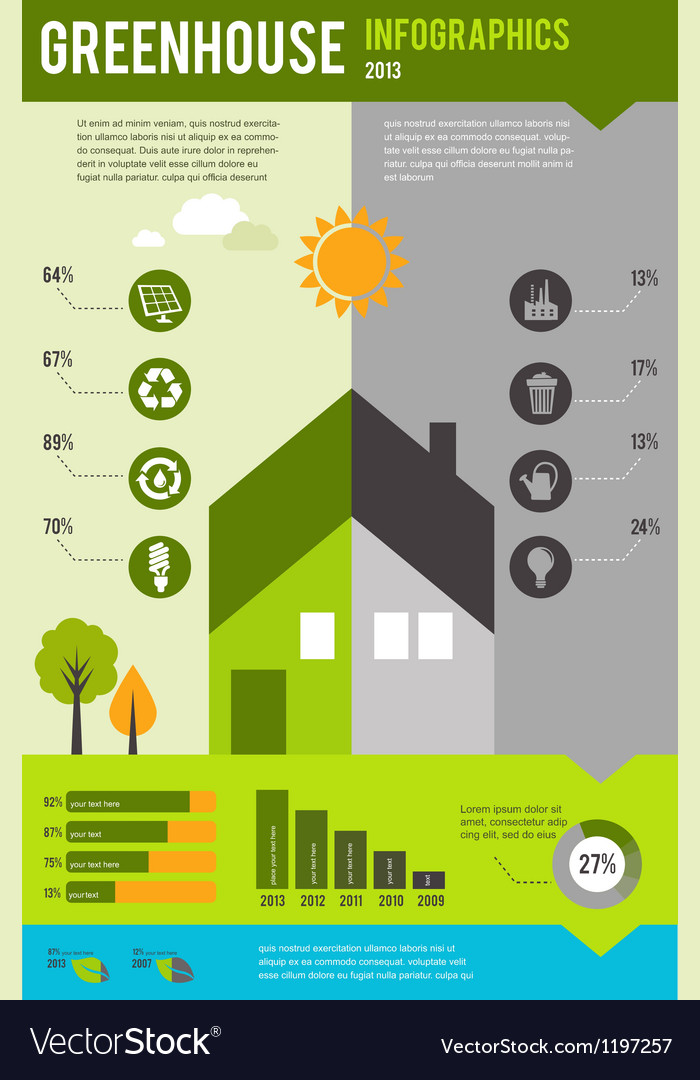 Infographic of ecology and green house concept vector | Price: 1 Credit (USD $1)