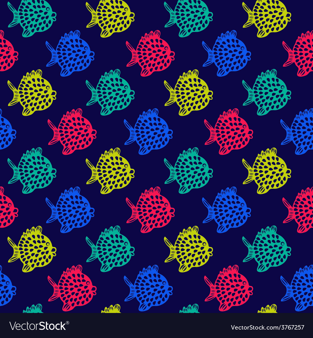 Pattern of fish decorative colorful cute vector | Price: 1 Credit (USD $1)