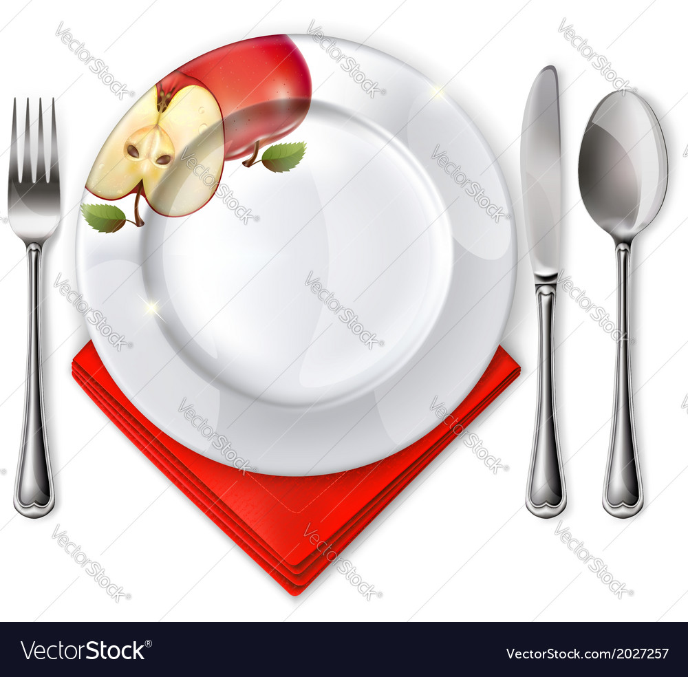 Plate with spoon knife and fork vector | Price: 1 Credit (USD $1)