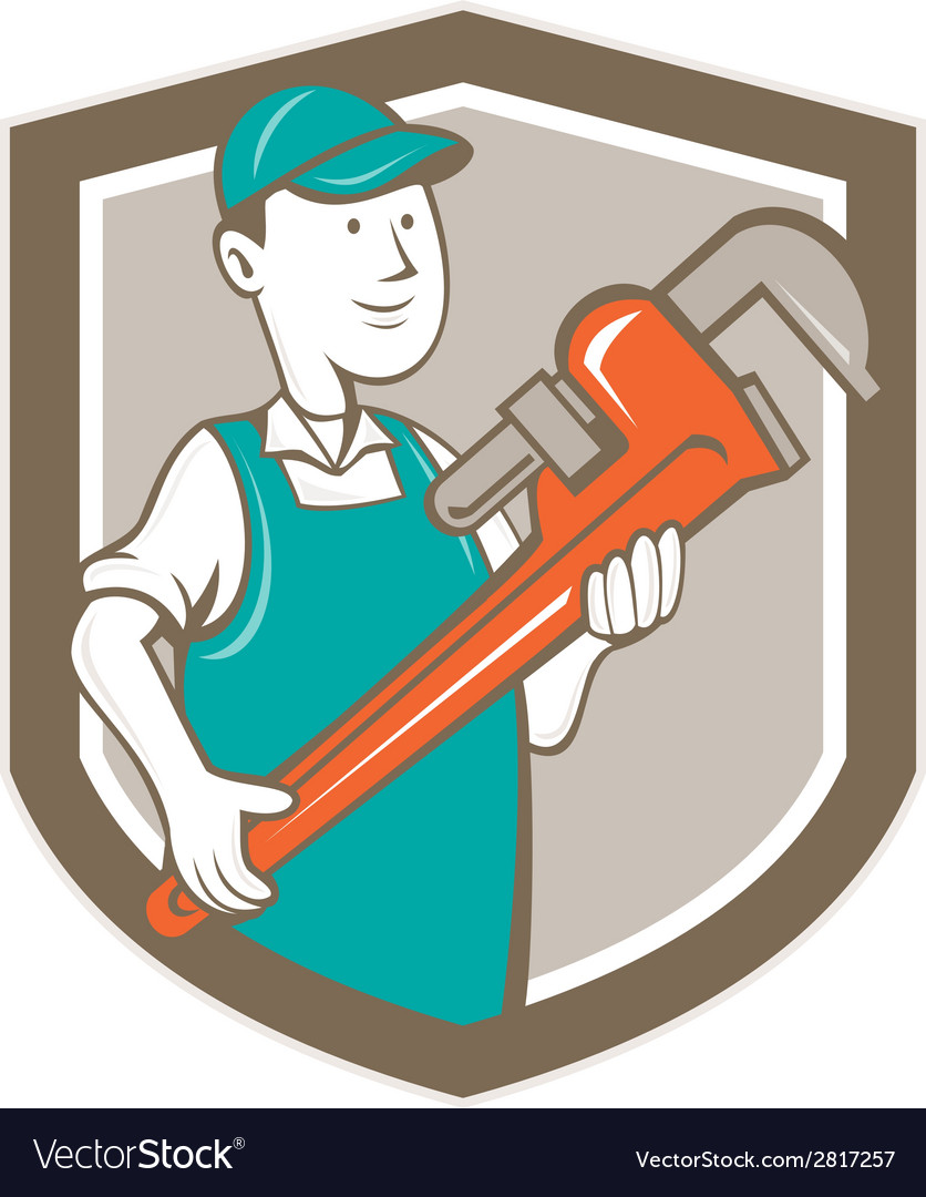 Plumber monkey wrench shield cartoon vector | Price: 1 Credit (USD $1)
