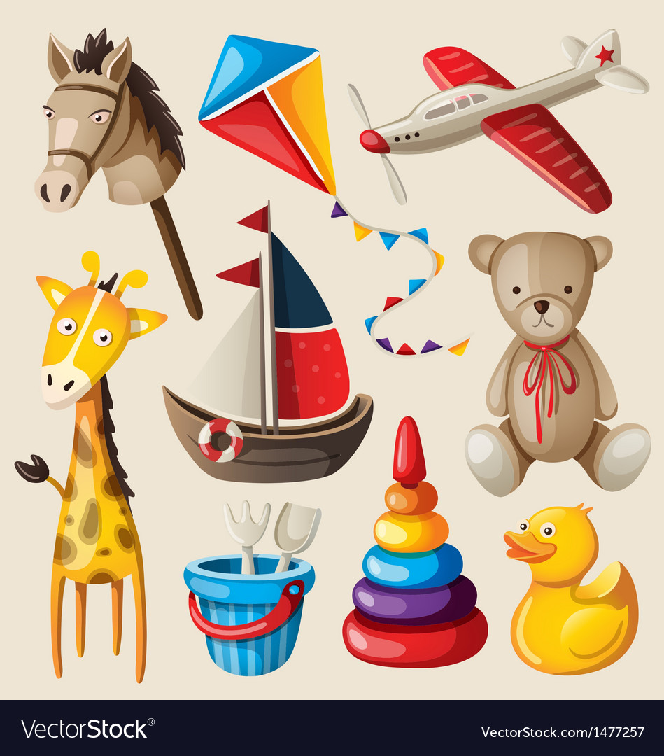 Set of colorful vintage toys for kids vector | Price: 3 Credit (USD $3)