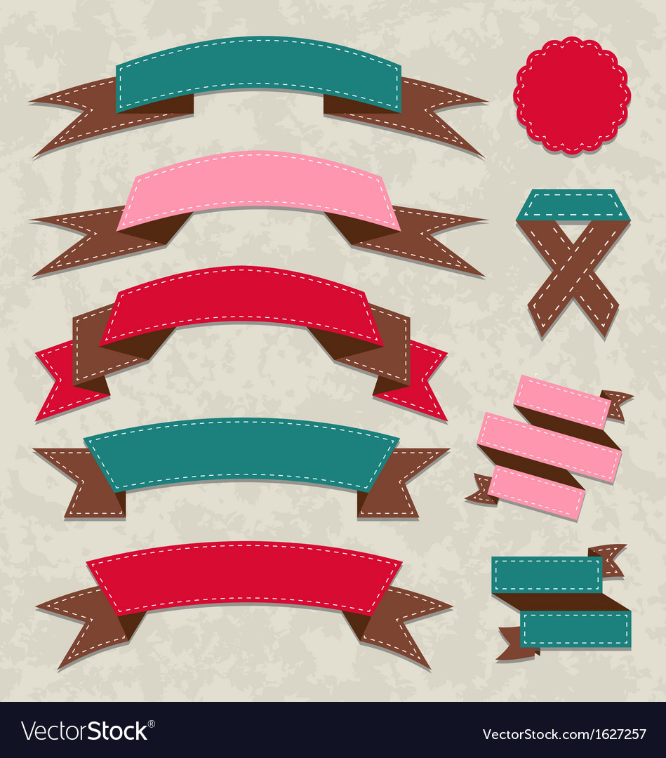Set ribbons vintage labels geometric emblems vector | Price: 1 Credit (USD $1)