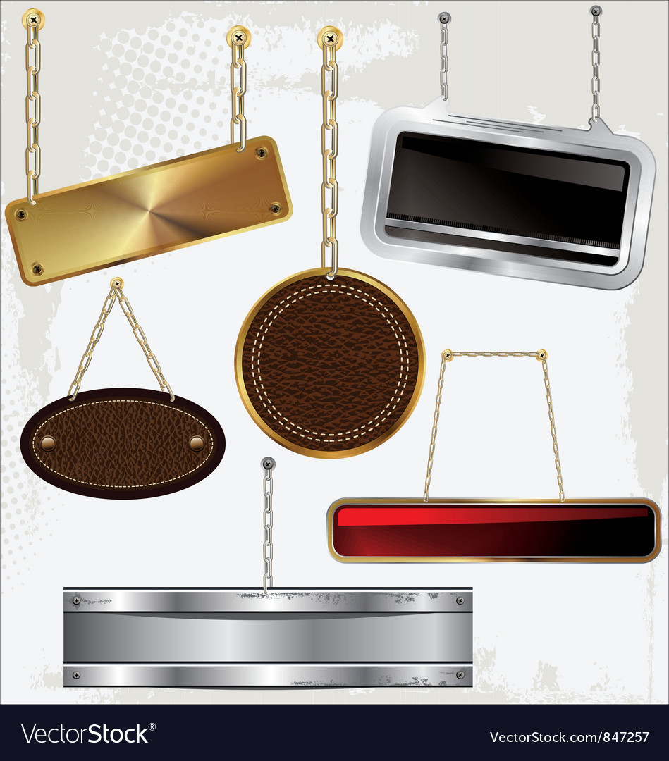 Signs and labels on gold and silver chain vector | Price: 1 Credit (USD $1)