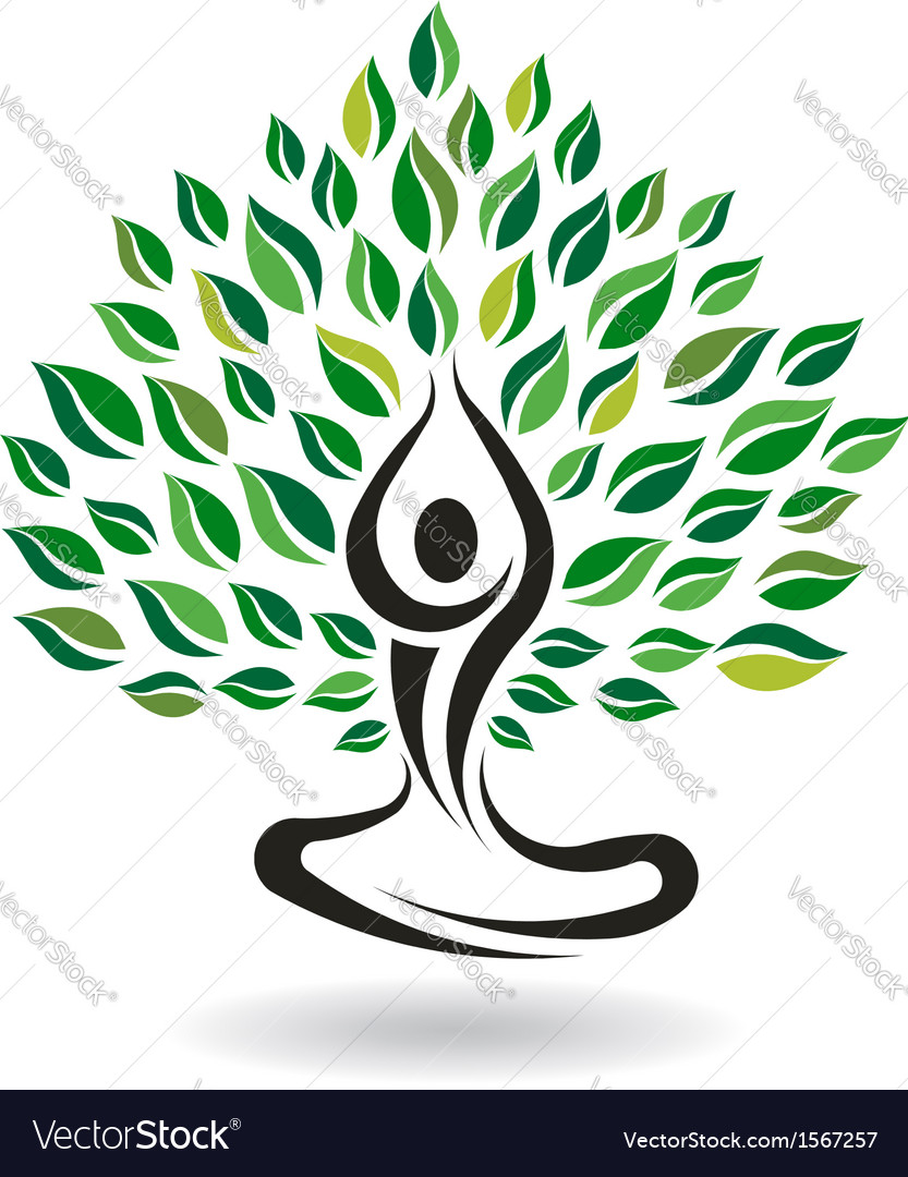 Yoga easy pose tree logo design element vector | Price: 1 Credit (USD $1)