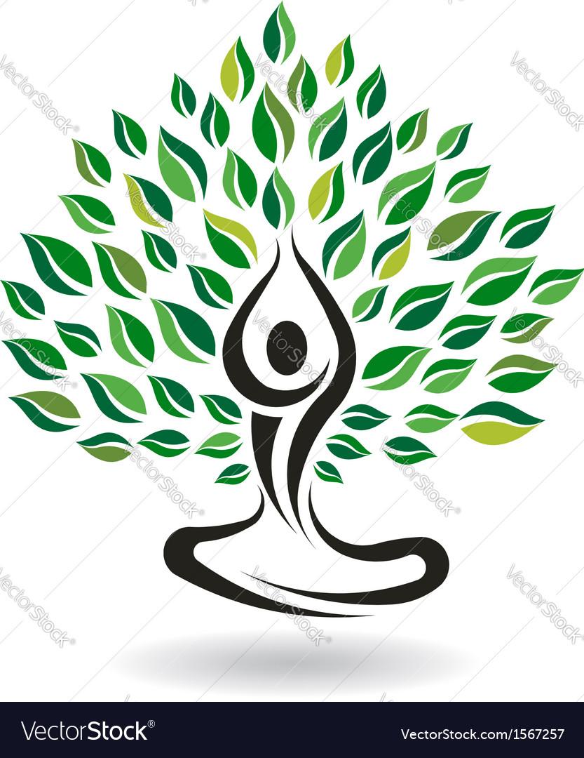 Yoga easy pose tree logo design element vector | Price: 1 Credit (USD $1)