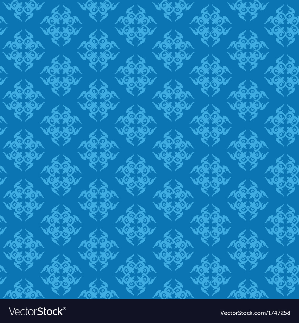 Blue damask seamless pattern vector | Price: 1 Credit (USD $1)