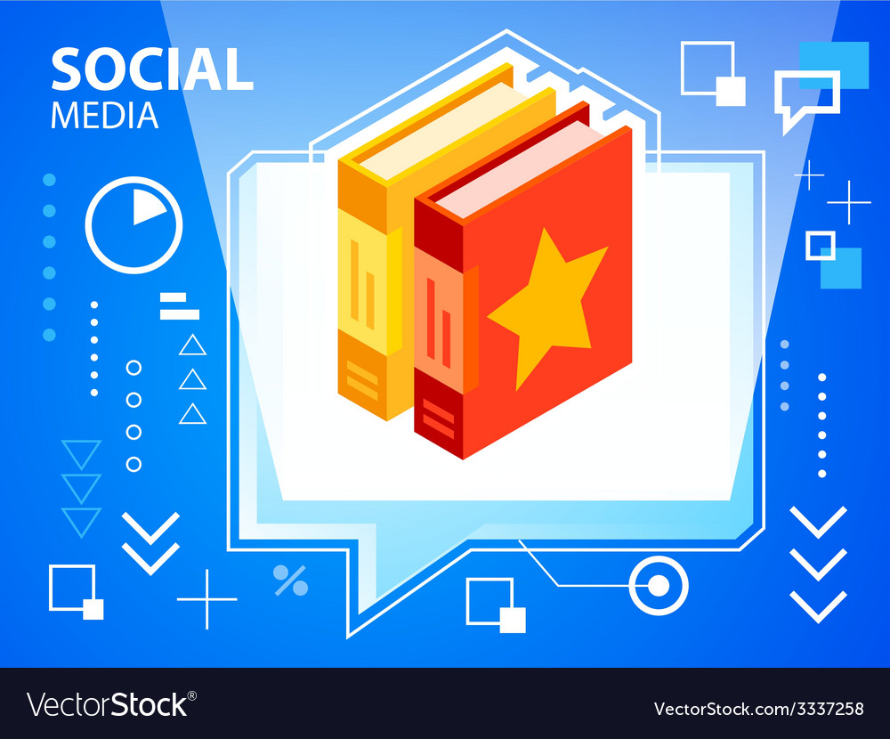 Bright speech bubble and books on blue backg vector   Price: 3 Credit (USD $3)