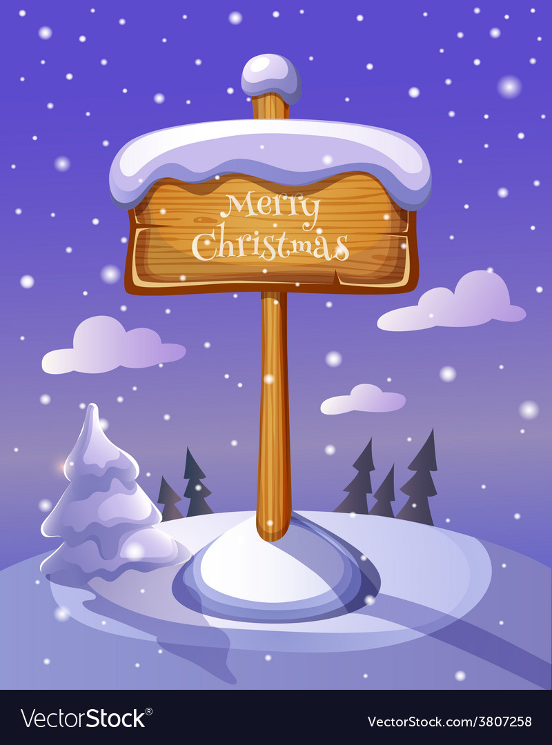 Christmas sign board on winter background vector | Price: 3 Credit (USD $3)