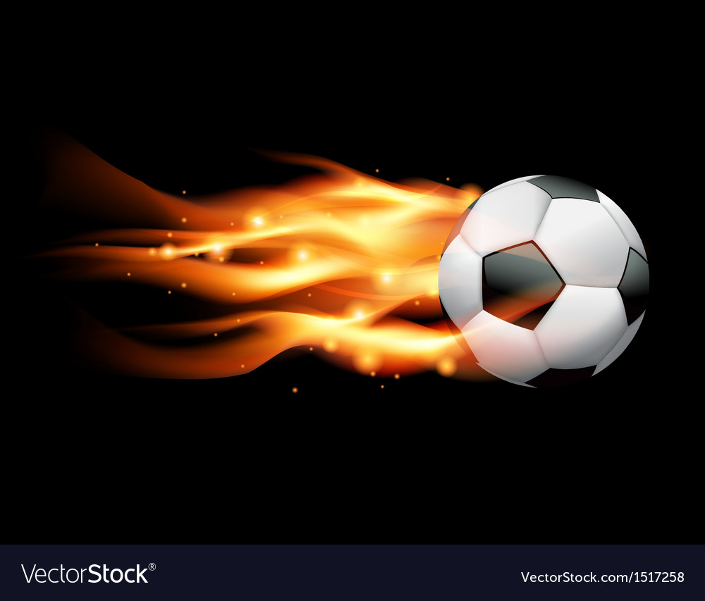 Flaming soccer ball on black background vector | Price: 1 Credit (USD $1)