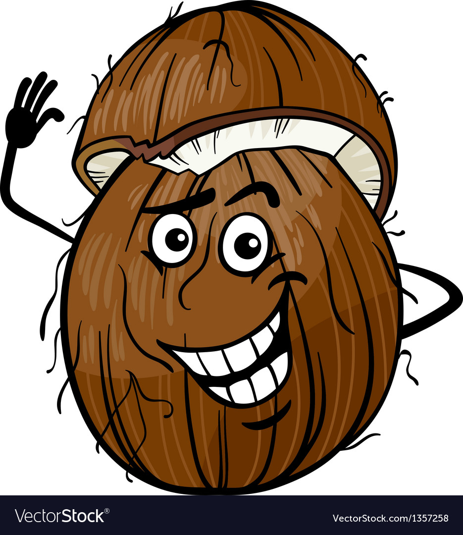 Funny coconut fruit cartoon vector | Price: 1 Credit (USD $1)
