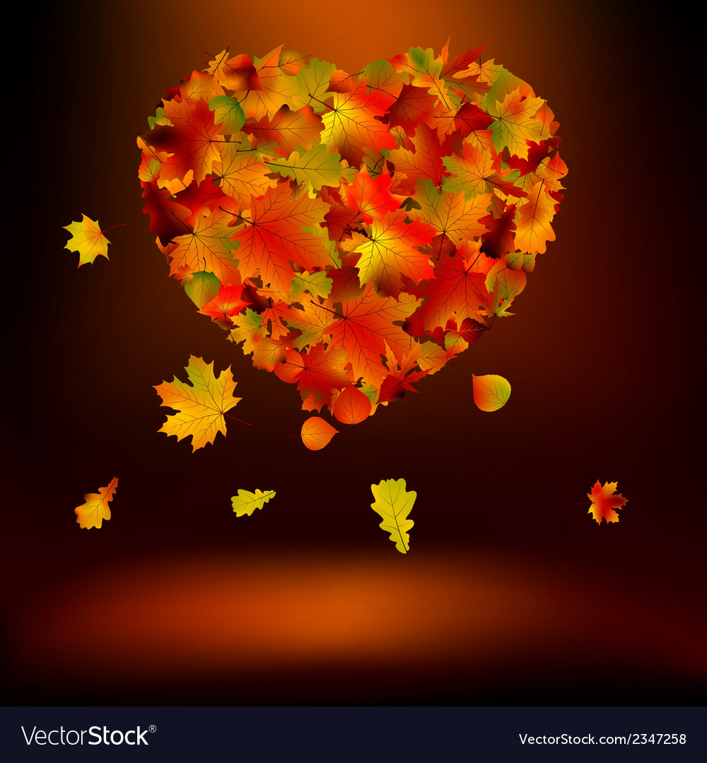 Heart with autumnal leaves eps 8 vector | Price: 1 Credit (USD $1)