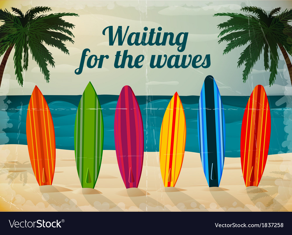 Holiday surfboards on the ocean beach vector | Price: 1 Credit (USD $1)