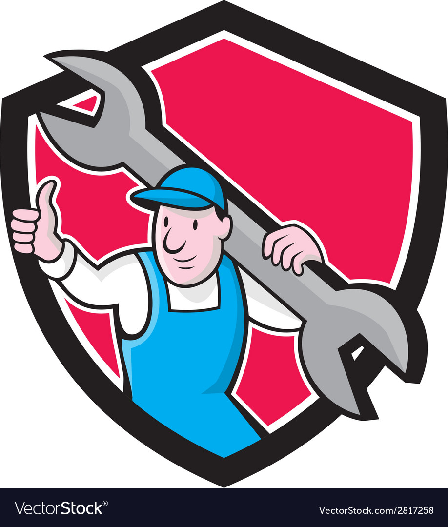 Plumber thumbs up monkey wrench cartoon vector   Price: 1 Credit (USD $1)