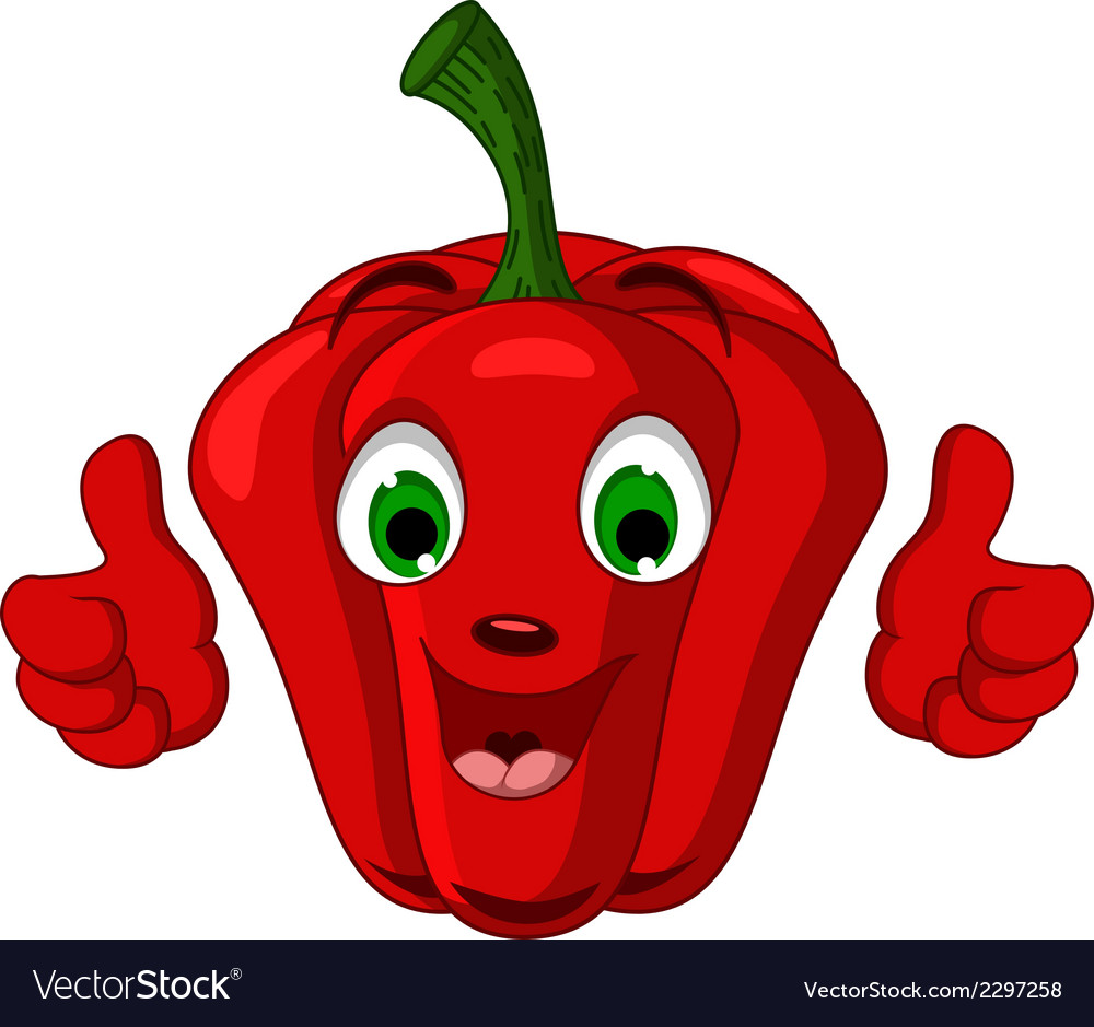 Red pepper character giving thumbs up vector | Price: 1 Credit (USD $1)