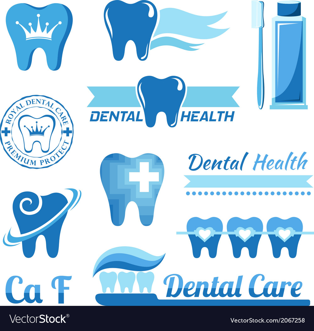 Set of dental decorative elements vector | Price: 1 Credit (USD $1)
