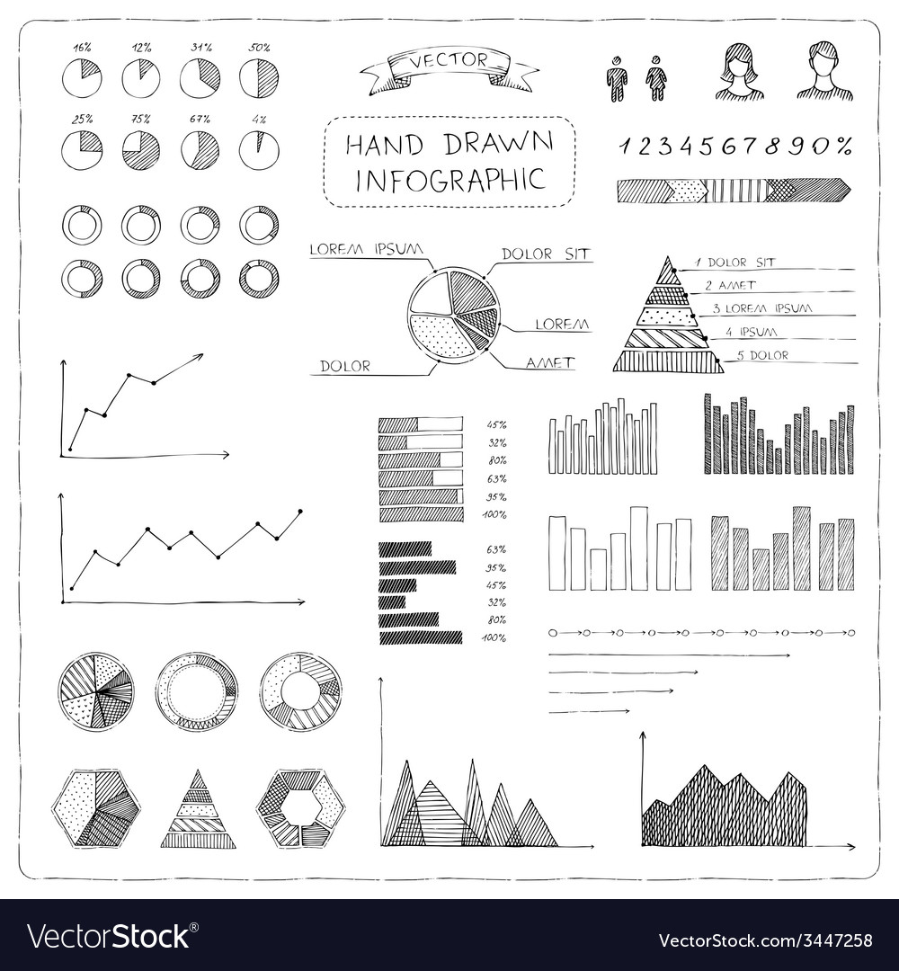Set of doodles business infographic vector | Price: 1 Credit (USD $1)