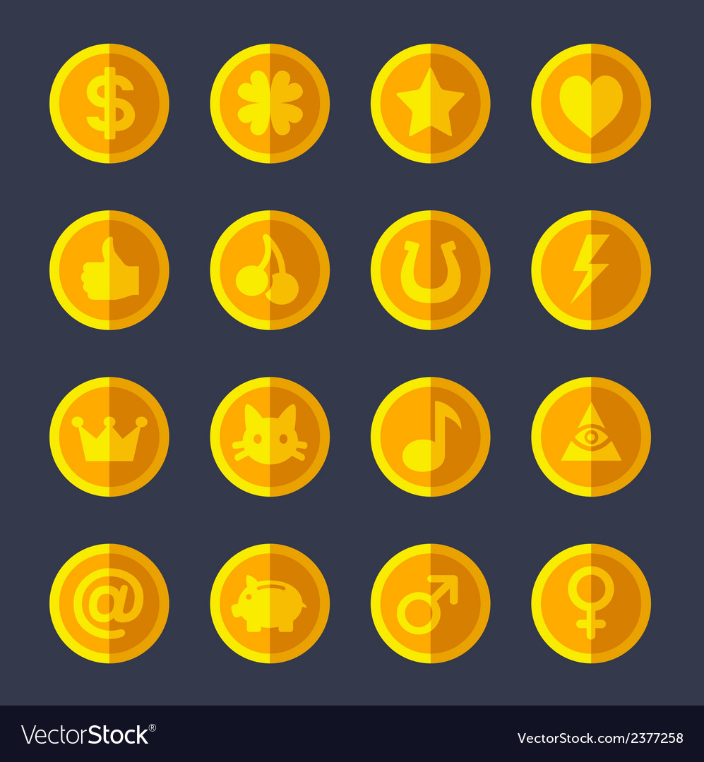 Set of flat gold coins vector | Price: 1 Credit (USD $1)