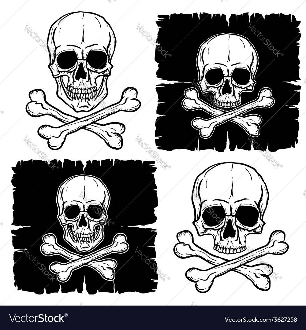 Set of skull and crossbones vector | Price: 1 Credit (USD $1)