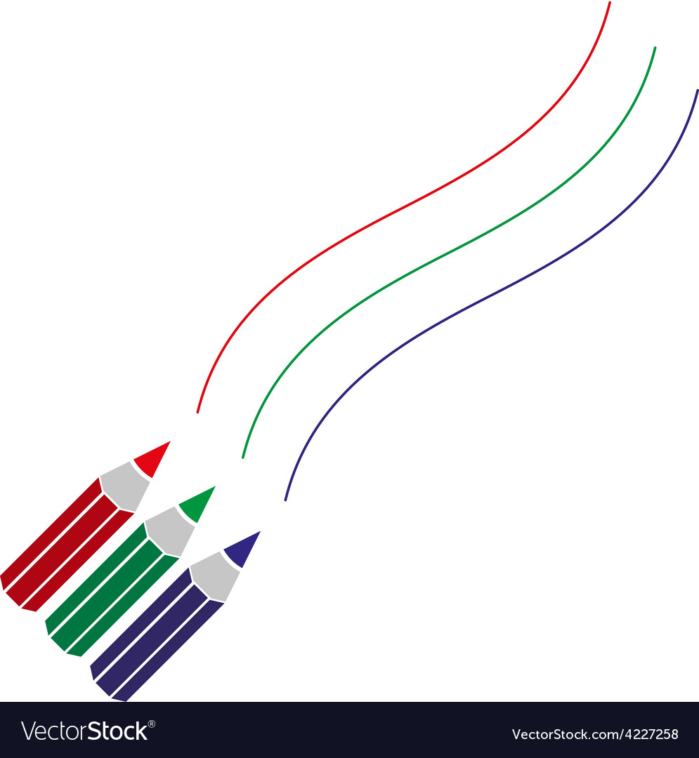 Three color pencils drawing curved lines eps10 vector | Price: 1 Credit (USD $1)
