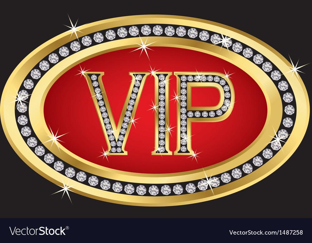 Vip golden label with diamonds vector | Price: 1 Credit (USD $1)