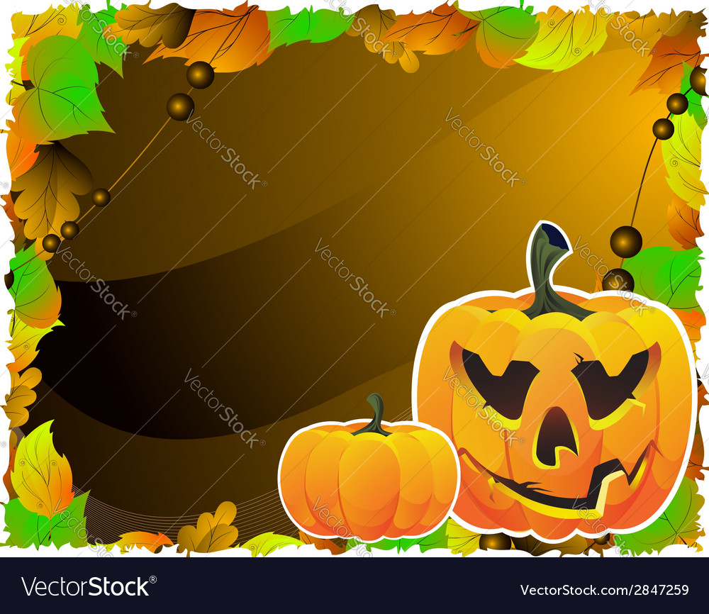 Bright pumpkins on the leaves vector | Price: 1 Credit (USD $1)