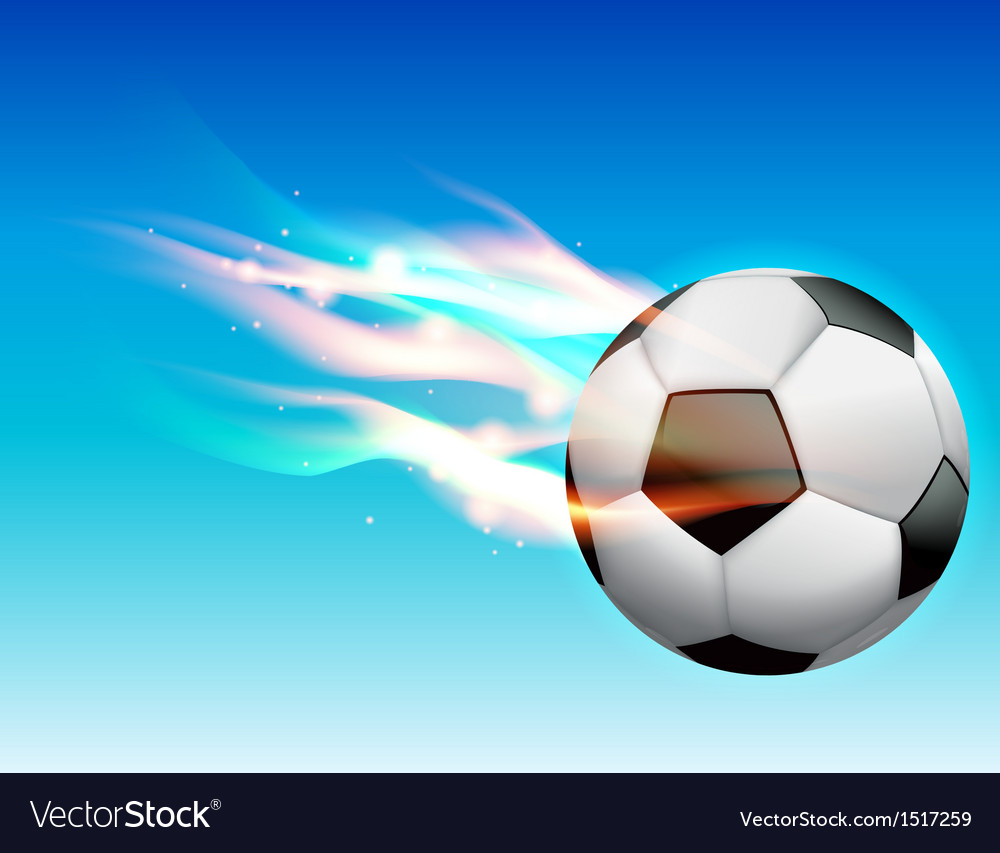 Flaming soccer ball in sky vector | Price: 1 Credit (USD $1)