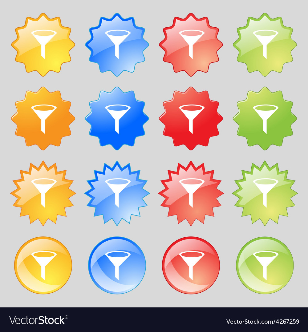 Funnel icon sign big set of 16 colorful modern vector | Price: 1 Credit (USD $1)