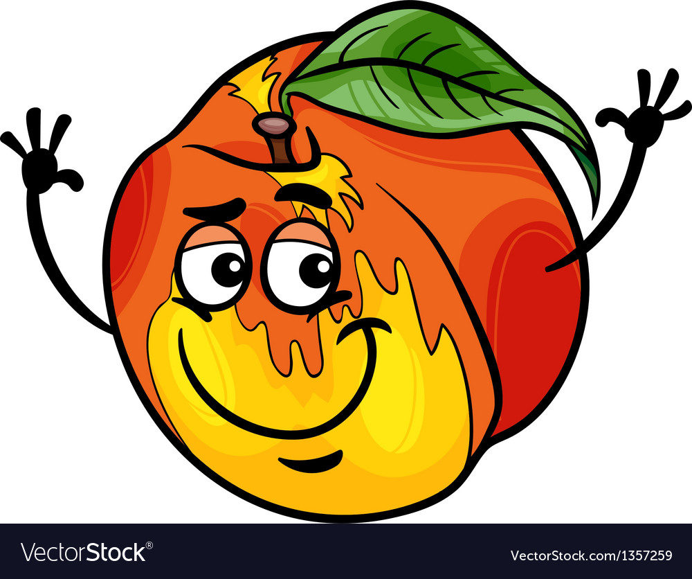 Funny peach fruit cartoon vector | Price: 1 Credit (USD $1)