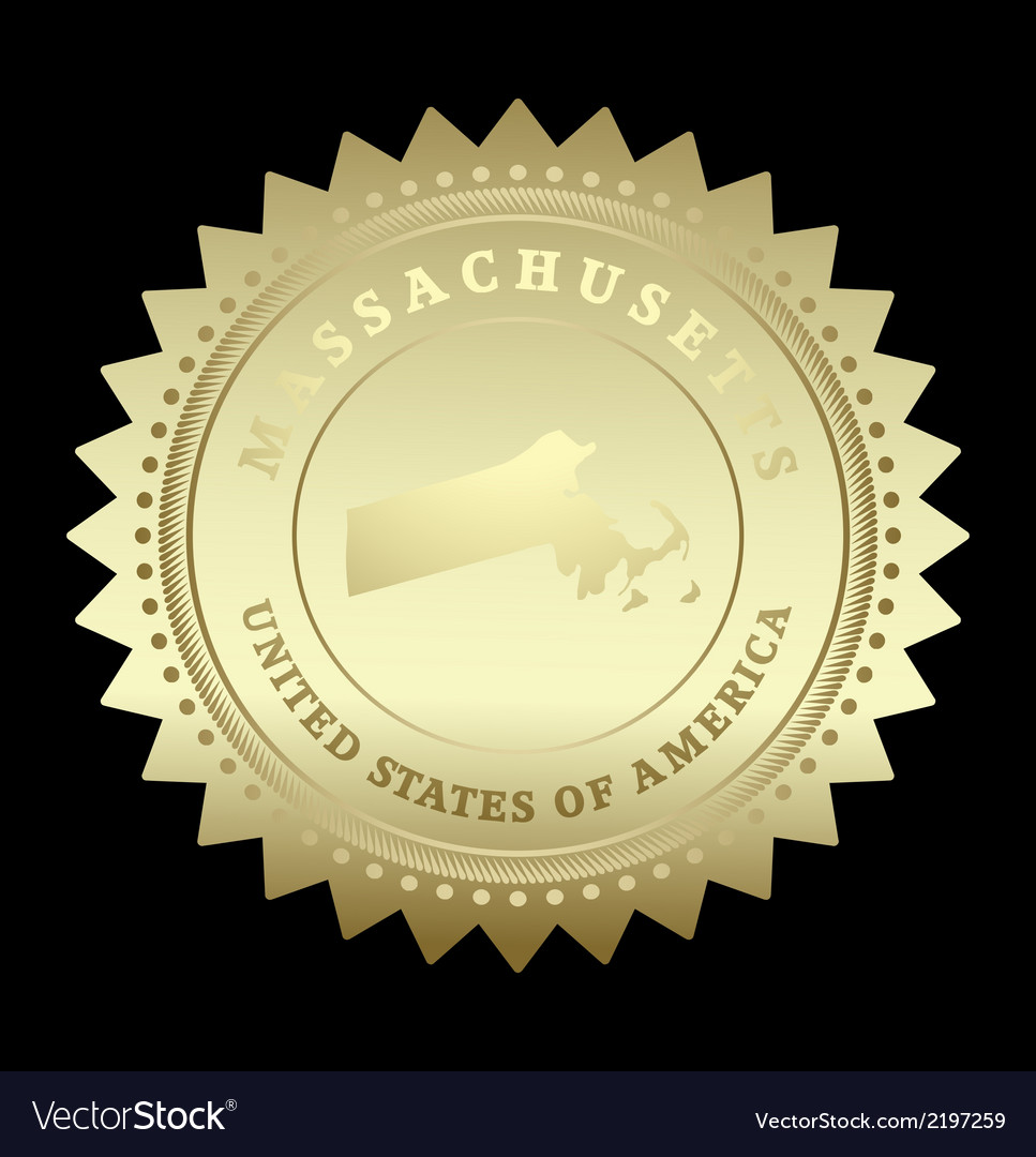Gold star label massachusetts vector | Price: 1 Credit (USD $1)