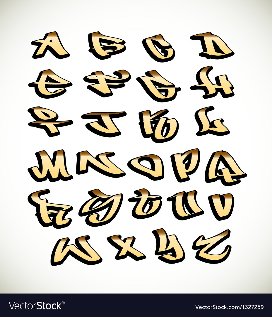 Graffiti font alphabet letters vector | Price: 1 Credit (USD $1)