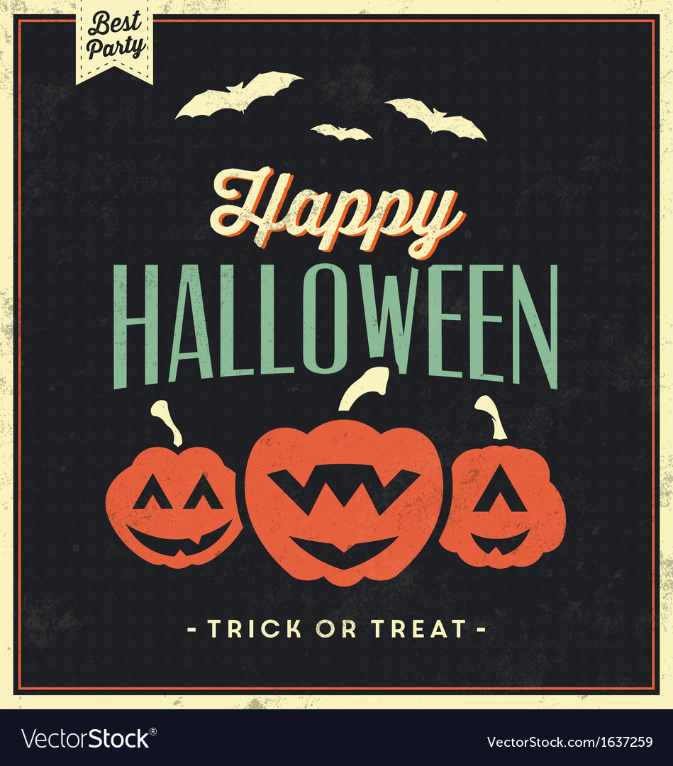Happy halloween vintage typographic template vector | Price: 1 Credit (USD $1)