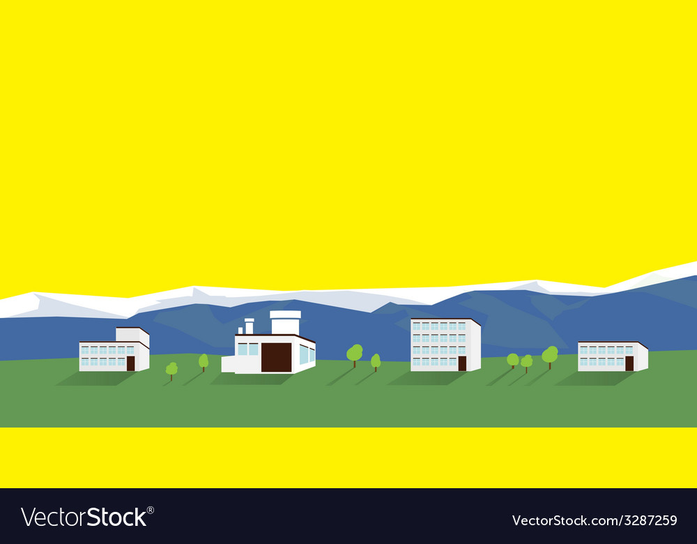 Houses on a background of mountains vector | Price: 1 Credit (USD $1)