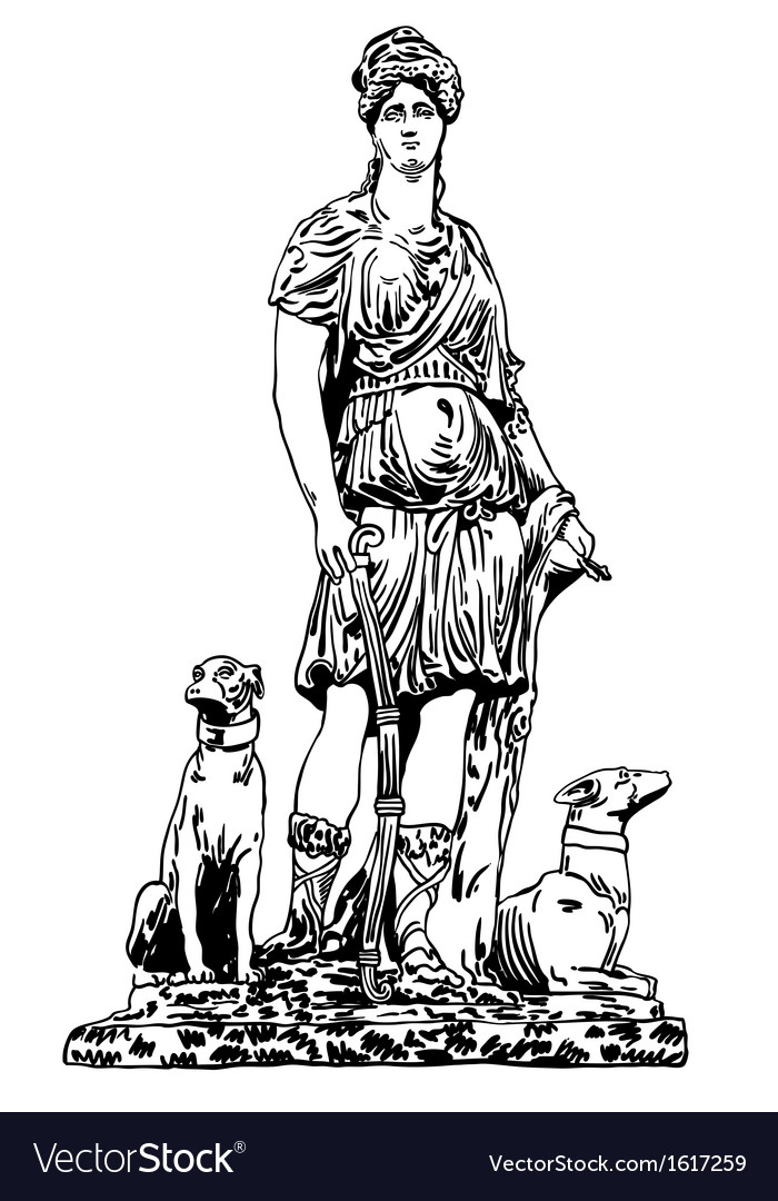 Ink drawing of old historical statue vector | Price: 1 Credit (USD $1)