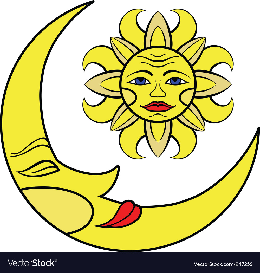 Moon and the sun vector | Price: 1 Credit (USD $1)