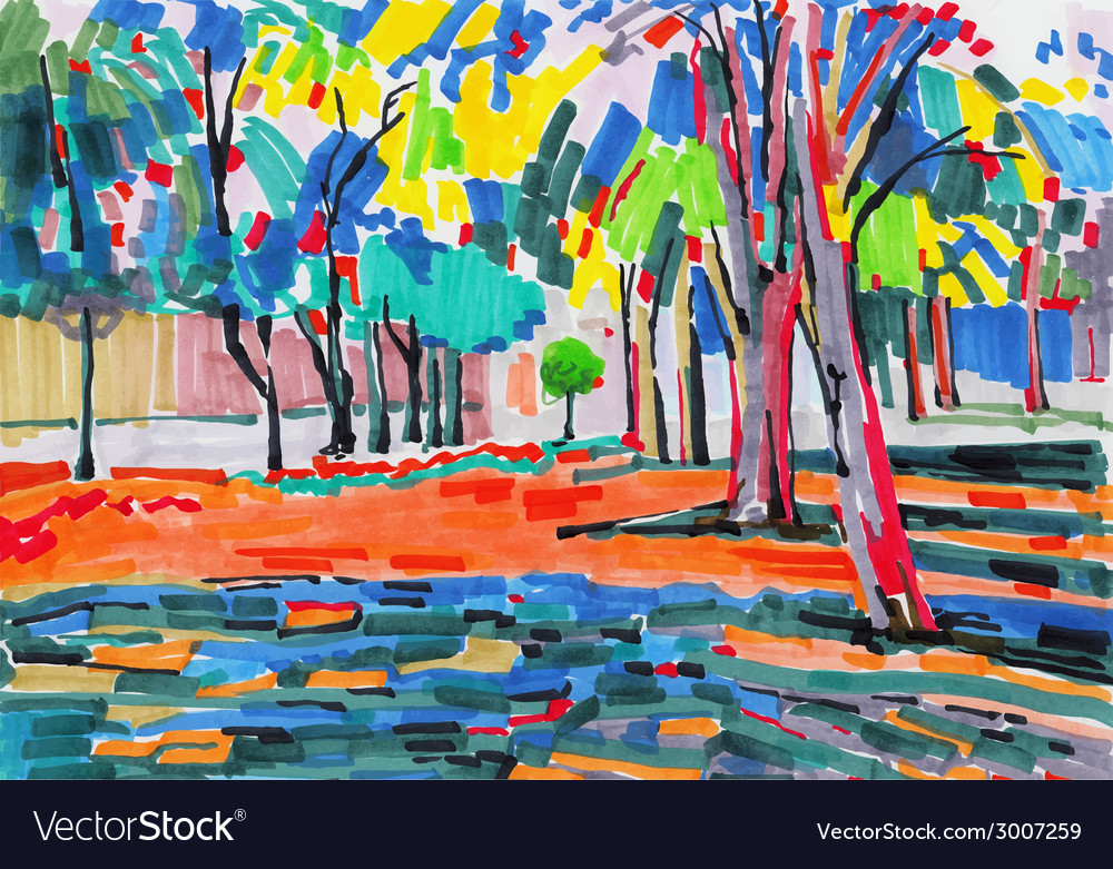 Original unusual marker painting of tree landscape vector | Price: 1 Credit (USD $1)