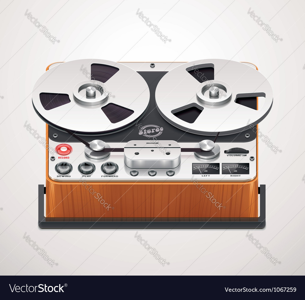 Reel-to-reel recorder icon vector | Price: 3 Credit (USD $3)