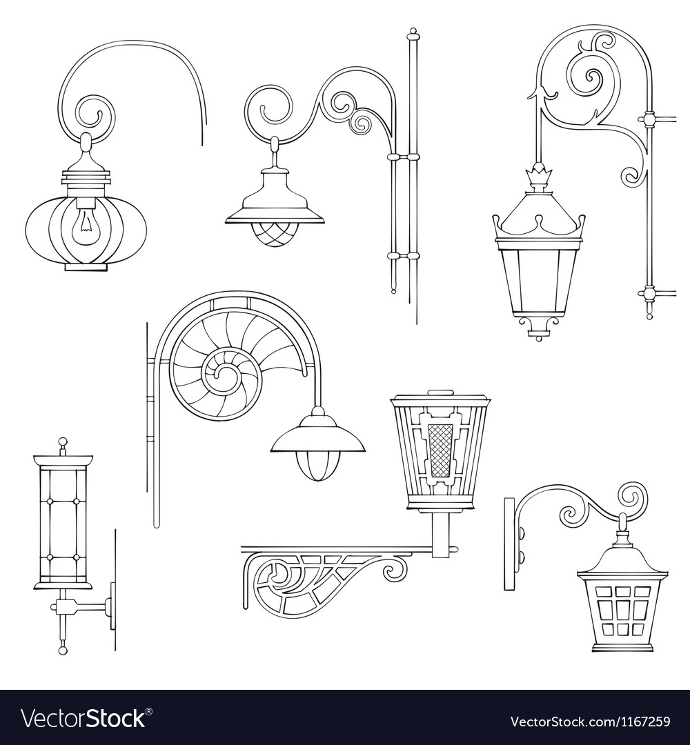 Retro and modern street lanterns vector | Price: 1 Credit (USD $1)