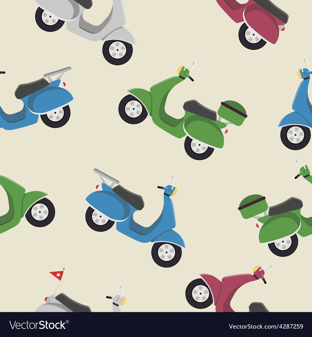 Retro vintage seamless scooter pattern vector | Price: 1 Credit (USD $1)